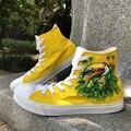Вэнь дизайн Бразилия Флаг птица зеленый-крылатый Макау ручная роспись обувь высокие мужские парусиновые туфли женские кроссовки на заказ п...