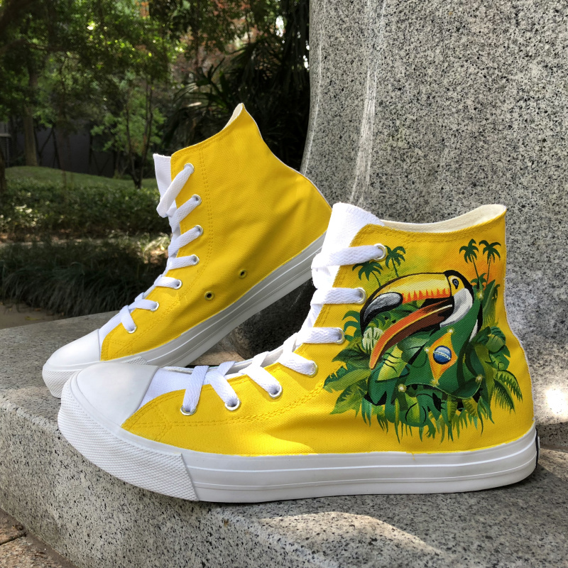 Wen Design Brazil Flag Bird Green-Winged Macaw Hand Painted Shoes High Top Men Canvas Shoes Women Sneakers Custom Plimsolls men women converse puerto rico flag hand painted artwork high top canvas shoes unique sneakers
