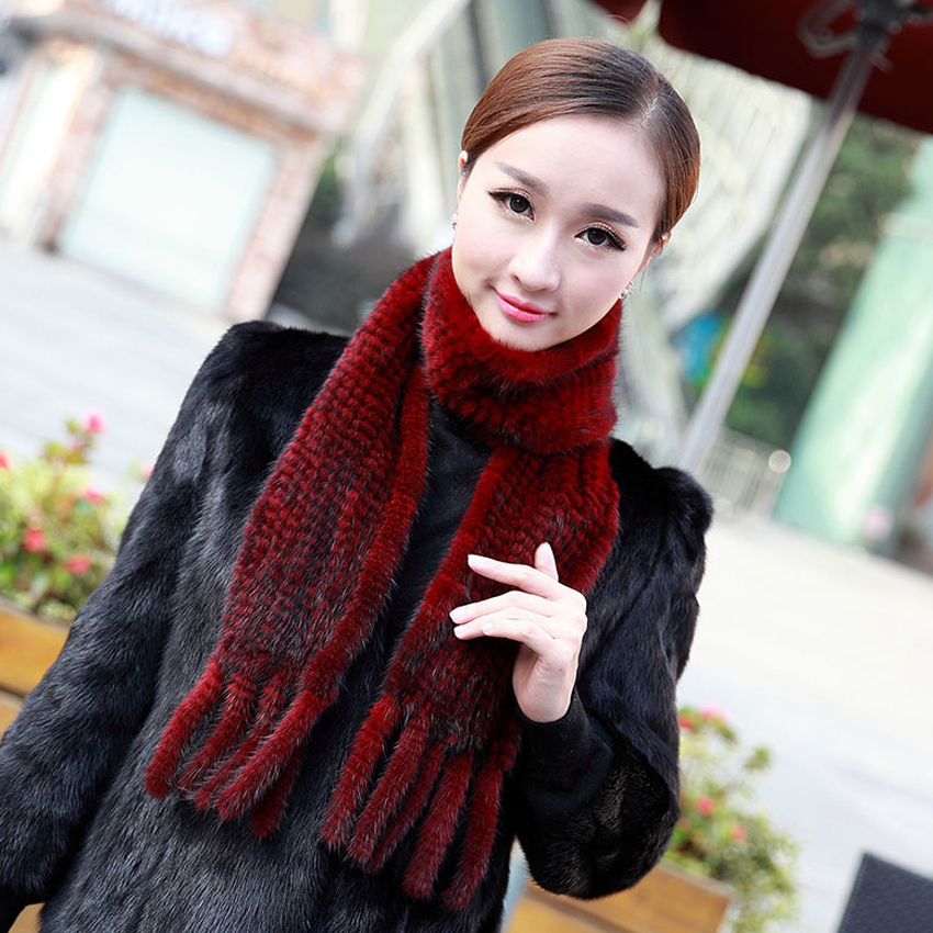 YCFUR Fashion Women   Scarves     Wraps   Winter Knit Natural Mink Fur   Scarf   For Women Soft Winter Real Fur Neck Warmer Scarfs Ladies