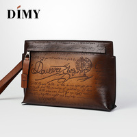 DIMY 2018 Winter Newest Vintage Envelope Spanish Luxury Clutch Bags Mens Genuine Leather Bags Handbags Large Capacity Clutches
