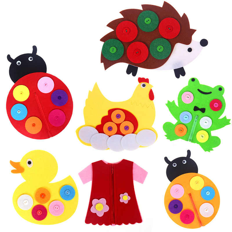1 шт. ручной работы с застежкой-молнией и пуговицами обучения для детского сада Играем ручками Diy вязання одежда игрушки раннего развития Монтессори вспомогательный материал для обучения игрушки