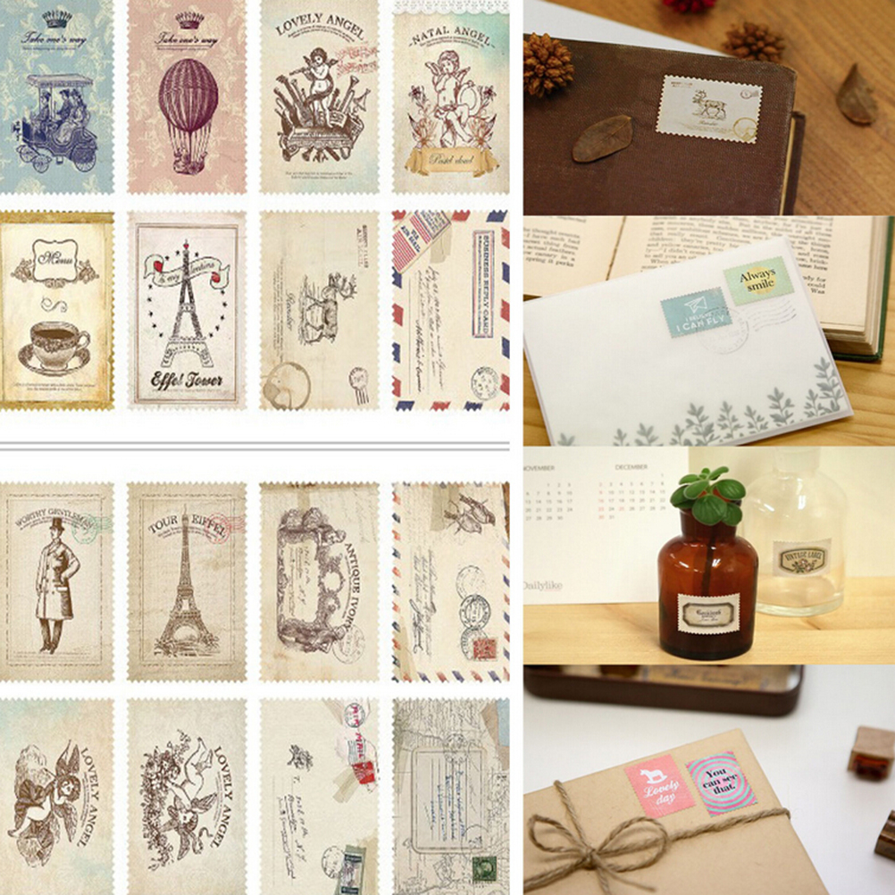 Scrapbook paper note - 2016 2 Sheets New Diy Vintage Scrapbook Note Paper Retro Tower Flower Stamps Stickers Lovely Decor