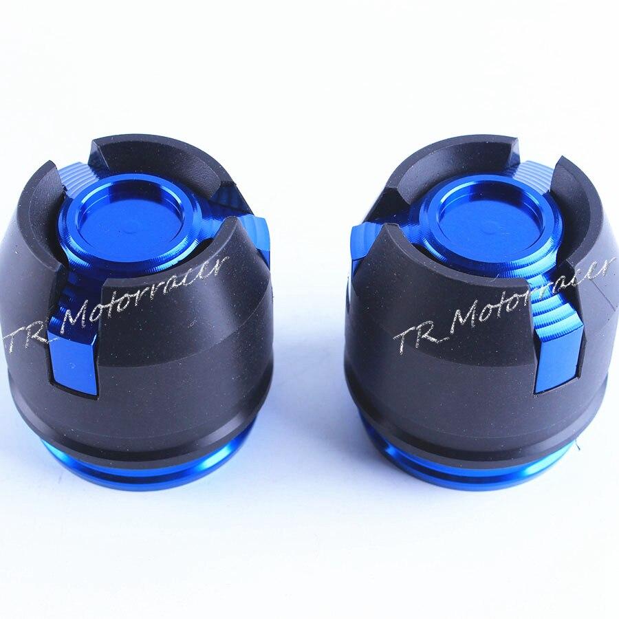Motorcycle Frame Crash Slider Fork Protector Caps For 12mm Front & Rear Rim Wheel CNC Aluminium Blue One Pair