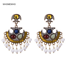 купить White Faux Pearl Ethic Indian Jhumki Jhumka Drop Earrings Women Vintage Antique Gold Tribal Bridal Party Jewelry Drop Shipping по цене 227.31 рублей