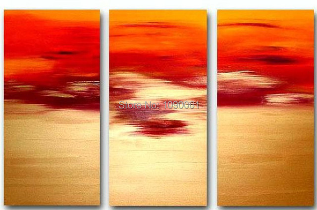 Hand Painted Modern Abstract Oil Paintings 3 Piece Sunset Gold And ...