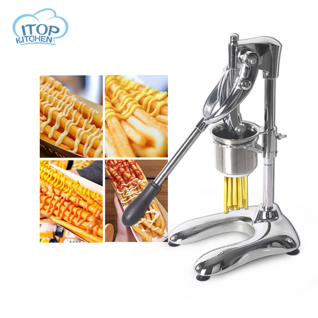 Footlong 30cm Fries Maker Super Long French Fries Stainless Steel Potato Noodle Maker Machine 6*6mm Special Kitchen Extruders