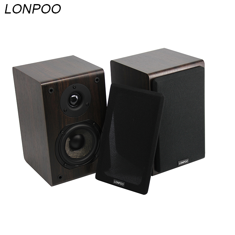LONPOO Bluetooth Speakers Wireless Bookshelf Speakers Loudspeaker Wooden AUX Stereo Sound home theater Subwoofer forPC/Phone