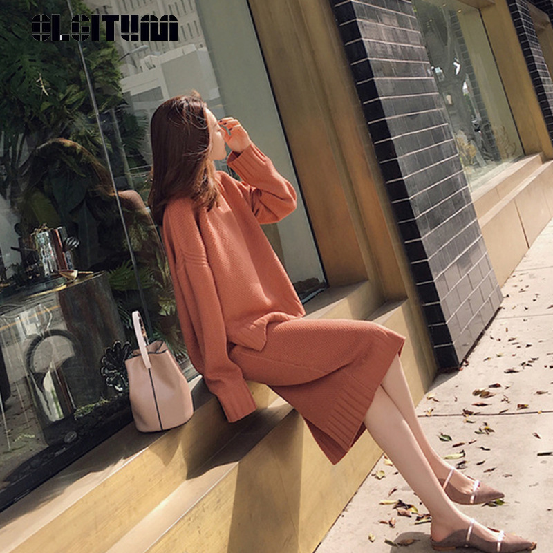 New 2018 Autumn And Winter Fashion Korean O-neck Long Knitted Two-piece Women Set Pullover Sweater+Knitted Skirt