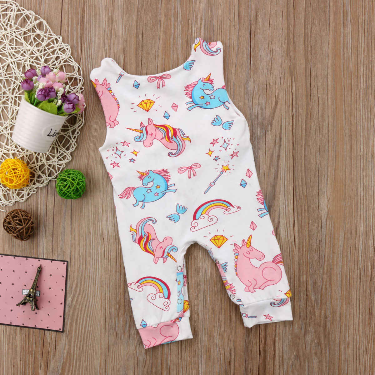 88933909cd8 ... Pudcoco Newborn Baby Clothing Cute Unicorn Sleeveless Romper Jumpsuit  Cotton baby girl boy clothes Cartoon Summer ...