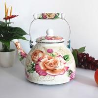 Thick flat bottom 4L large porcelain enamel water kettle teapot milk tea pot electromagnetic furnace general purpose teakettle