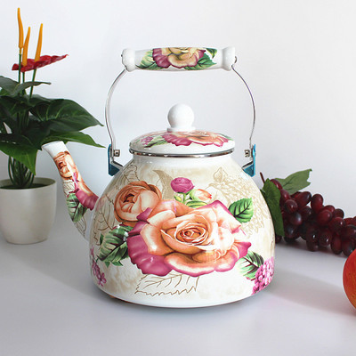Thick flat bottom <font><b>4L</b></font> large porcelain enamel water <font><b>kettle</b></font> teapot milk tea pot electromagnetic furnace general purpose teakettle image