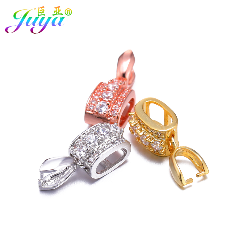 Juya DIY Jewelry Findings DIY Clamp Clasp Pinch Clip Bails Hooks Accessories For Women Crystals Pearls Agate Jade Jewelry Making