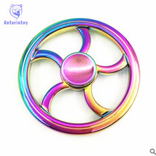 Hot Selling Stress Fidget Spinners Colorful Round Fire Wheel EDC Fidget Spinner Metal ADHD Hand Spinner Funny Gift Finger Toys