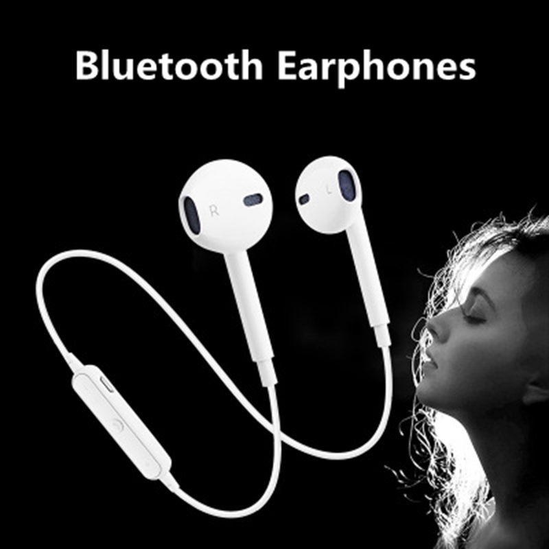 Universal S6 Sports Wireless Bluetooth Earphones Stereo Headset Earpiece Headphones With Mic For Samsung Xiaomi Android IPhone