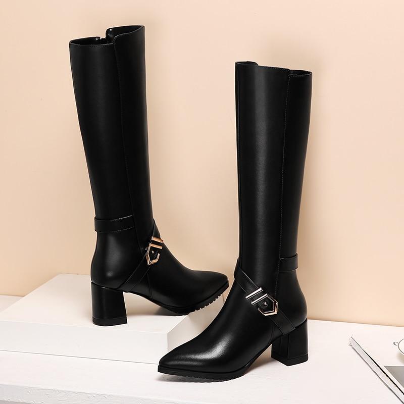 Повседневные модные кожаные ботинки с белым воротником - 3