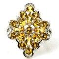 7 # Создан Золотой Цитрин, белый CZ SheCrown Свадьбы женщины Серебряное Кольцо 25 х 20 мм