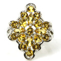 7# Created Golden Citrine, White CZ SheCrown Woman's Wedding  Silver Ring 25x20mm