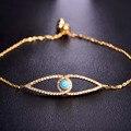Lady Christmas Gifts Bracelet For Women AAA+ Cubic Zircon Gold Plated Fine Copper Pulseras Bileklik Enamel Eye Shaped Chain Cool