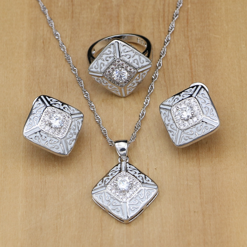 Silver 925 Jewelry Natural White Cubic Zirconia Stone Jewelry Sets For Women Lucite For Earrings Ladies Nnecklace Set