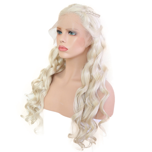 Image 3 - Bombshell Platinum White Hand Tied Synthetic Lace Front Braid Wig Heat Resistant Fiber Hair Middle Parting For White Women Wigs