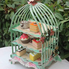3 Layers Cupcake Cardboard Cake Stand Wedding Tea Party Cakes Display Holder Birdcage Shape Cake Stand Table Decor