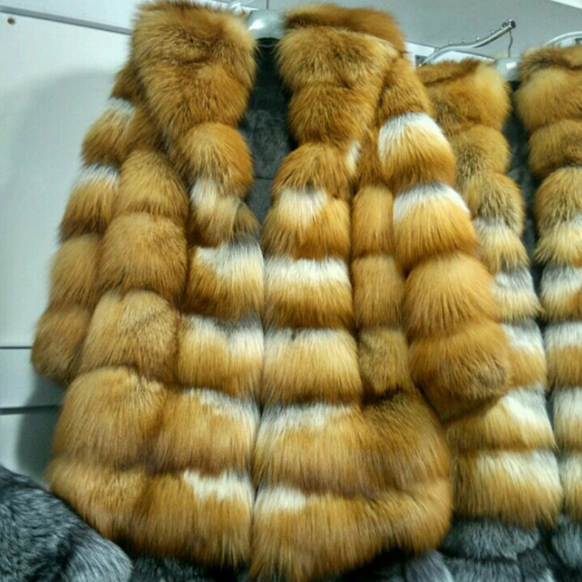 Brand Besty Women High-End Thick Real Natural Red Fur Fox Fur Coat With A Big Red Fox Fur Hood & V-Neck Collar Lady Long Coats