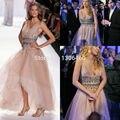 Gossip Girl Haute Couture 2015 Линия V Шеи Champange Высокая низкий Пром Платья Кристалл Rhinestone Вечернее Платье Халат Де Вечер