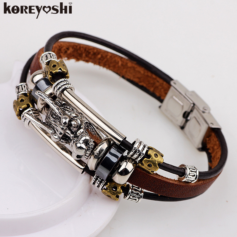 bracelet men Accessoires homme 2019 Tibetan silver men leather bracelet fashion male vintage parataxis dragon Multilayer jewelry Кольцо