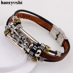 Bracelet hommes Accessoires homme 2019 tibétain argent hommes bracelet en cuir mode mâle vintage parataxis dragon multicouche bijoux