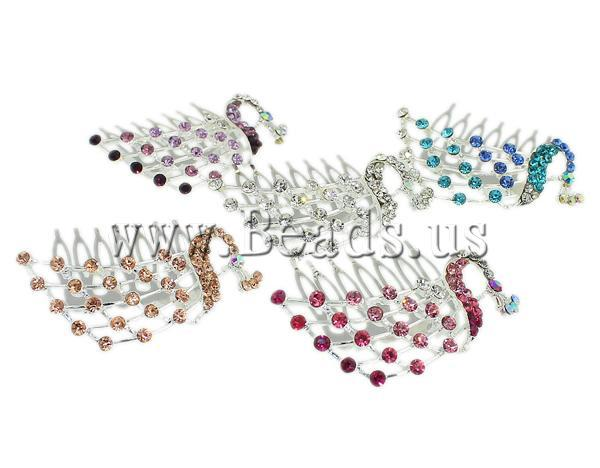 Free shipping!!!Decorative Hair Combs,One Direction, Zinc Alloy, with rhinestone, mixed colors, nickel, lead & cadmium free