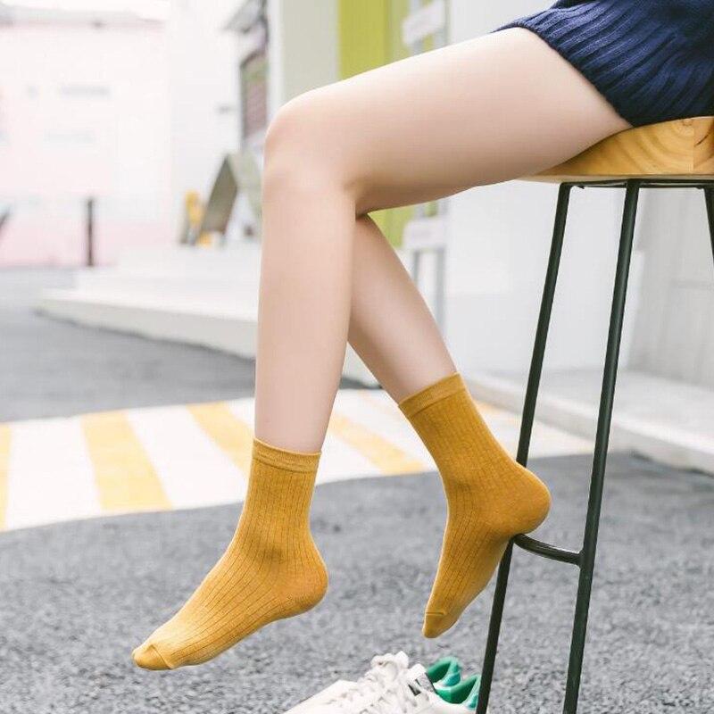 NOUVEAU 2018 Femmes Filles Confortable Coton décontracté chaussettes tricotées Pur tube de couleur Chaussettes K1301-1-6