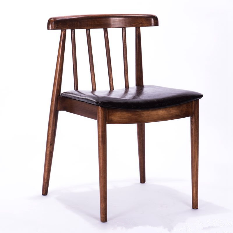 Wooden Dining Side Chair Leather Upholstered Seat Solid Wood Walnut/Natural Restaurant Hotel Furniture Dining Chair Low Back