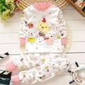 Одежда для новорожденных набор новый милый Медведь новорожденных девочек одежда с длинным рукавом футболка + брюки 2 шт. костюм младенца хлопка мальчиков одежда для новорожденных набор