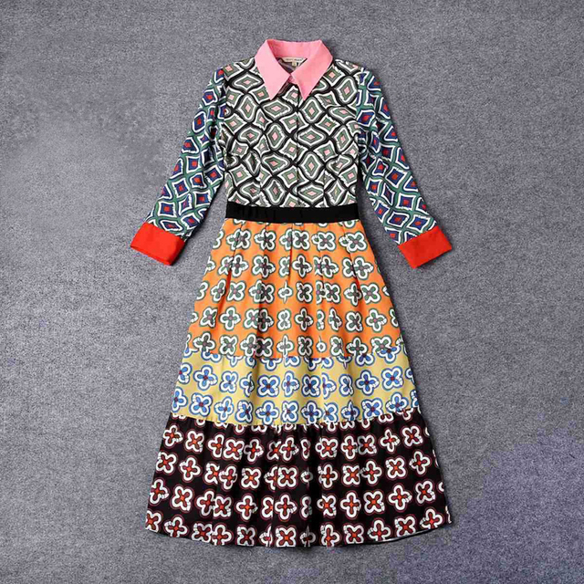 4ae40971245ac 2017 Fashion Runway Designer Women Spring Summer Printed Dresses Elegant  3/4 Sleeve Turn Down Collar Patchwork Dress JC269-in Dresses from Women's  ...