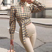 Sexy Multicolor 2019 New Summer Autumn Womens Blouse  Long Sleeve Stand Neck Backless Elegant Ladies Wind Versatile Plaid Shirt