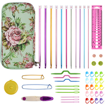 KOKNIT Aluminum Tunisian Afghan Crochet Hooks Set  Kit Mix 11pcs Scissors Needles Sewing Tools With Bag