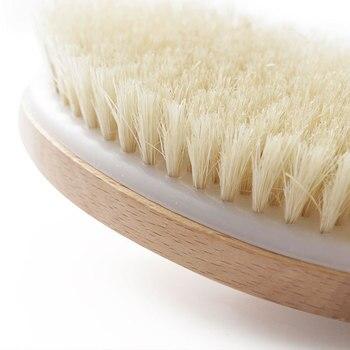 Y114,41CM Natural wood & Boar Bristle Bath Brush Shower Massage Brush Body Brush with long handle 4