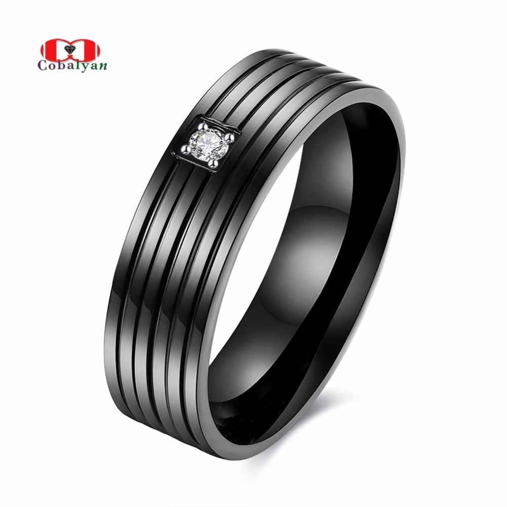 Allencoco Big Size Men Ring Gun Plated 360L Stainless Steel AAA Zircon Lover Finger Rings Jewelry for Men Full Sizes