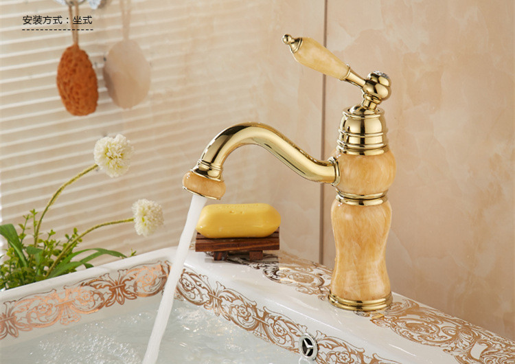 Copy Marble Gold Bathroom Basin Mixer Tap With Solid Br Golden Kitchen Sink Faucet Of Hot Cold Water In Faucets From Home
