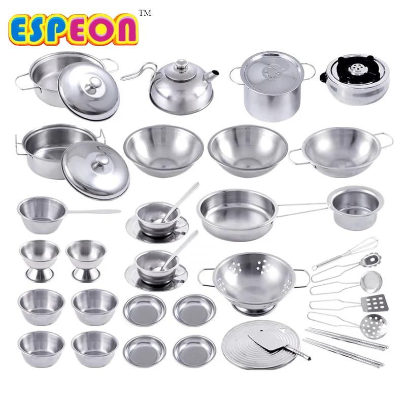 40 Pcs Stainless Steel Pretend Play Kitchen Toys Mini Model Kitchenware Cookware Cooking Toys Children Kids Pot Pan Brinquedo