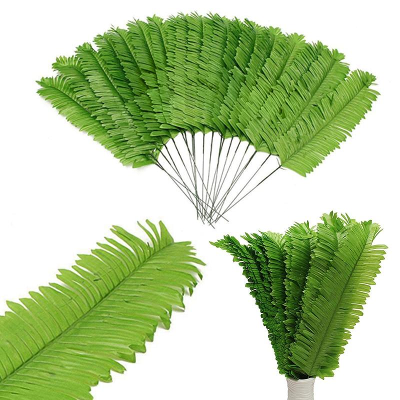 10/20 pcs realista verde hojas de palma artificiales hojas de la rama de diy de