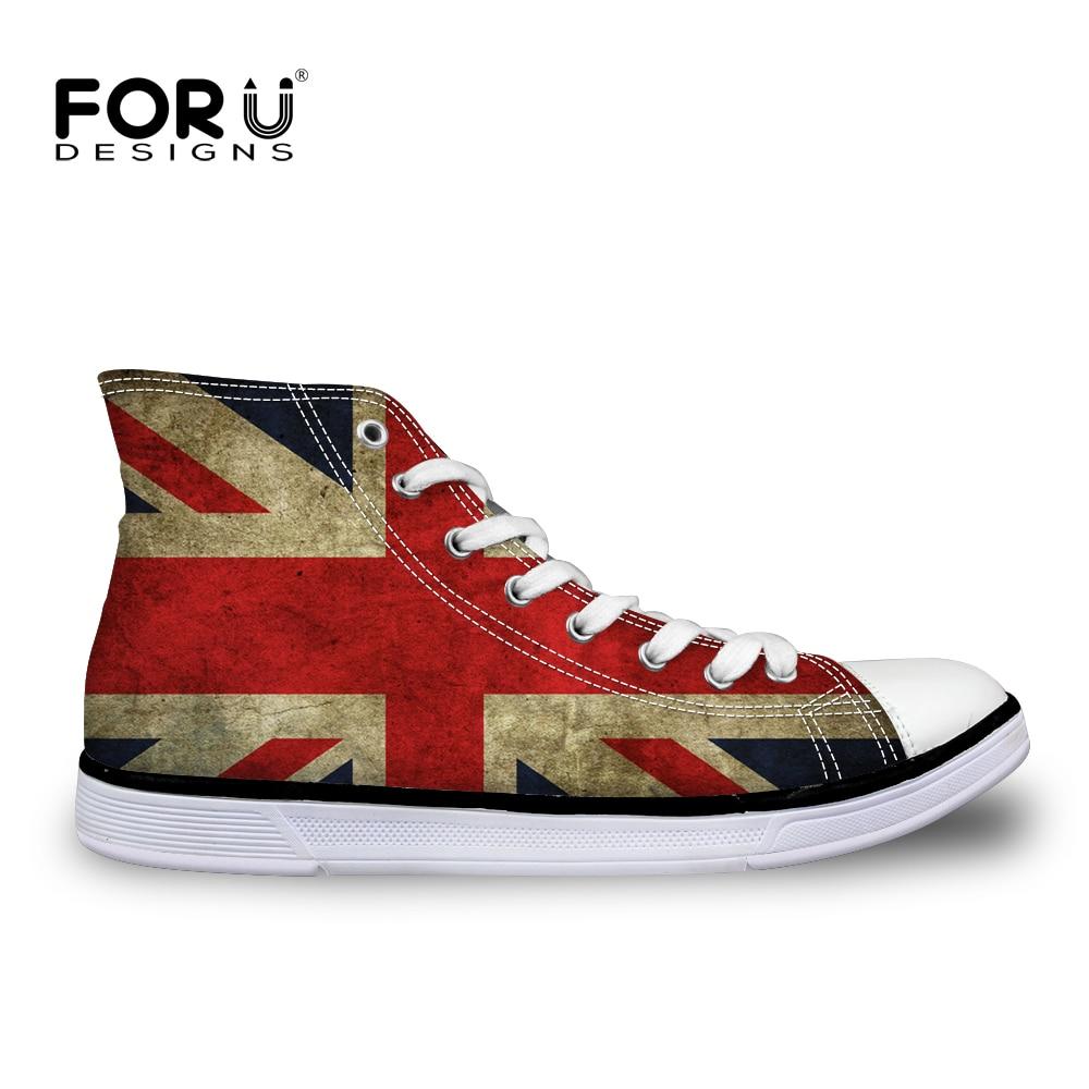 "FORUDESIGNS רטרו בריטניה ארה""ב דגלי מותג נשים נעליים גבוהה למעלה אופנה נשים שרוכים בד מגופר נעלי דירות גבירותיי Zapatos"