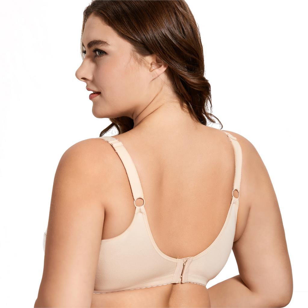 Image 2 - المرأة التغطية الكاملة الدانتيل حجم كبير غير مبطن حمالة صدر قطن B C D E F G H I J-في حمالات الصدر من ملابس داخلية وملابس نوم على AliExpress