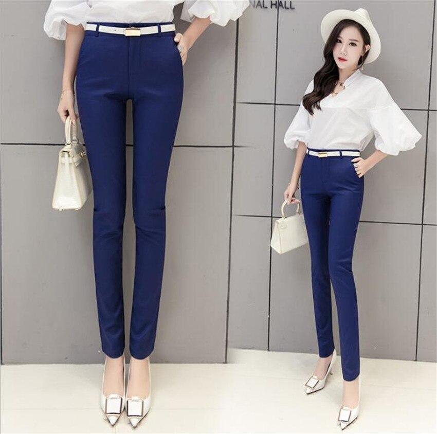 KMUYSL 2018 Весна новая Корейская версия связаны средства ухода за кожей стоп высокая Талия Тонкий деловой костюм брюки для девочек KF005