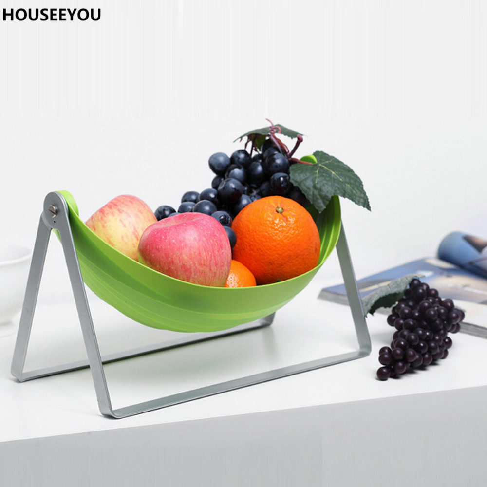 Green Folding Fruit Serving Rack Tray Kitchen Storage Holder Basket Clutter Organizer with Metel Stand Home Storage Supplies