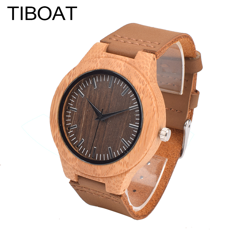 2017 TIBOAT Brand Wood Watch Women's Watches Bamboo Wood Wristwatch Female Clock Lady Quartz-watch as Gifts for Women newest color of bamboo wood watch for women fashion tiangle wooden wristwatch for gifts quartz clock in a box