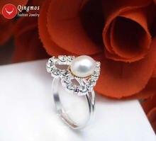 Женское кольцо с жемчугом в форме сердца 15 мм 8