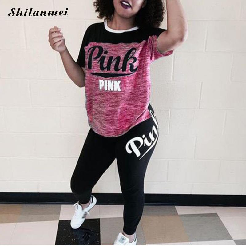 Women'S Pink Tracksuit Plus Size Casual 2 Piece Suit Sweatshirt 3xl Letter Print Women Outfits Tops And Long Pants Set Fitness