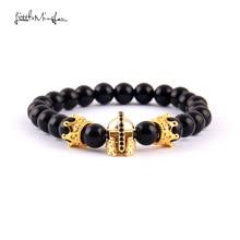 WML 8mm bead Men Bracelet Luxury Pave CZ Warrior Helmet & Crown charm Bracelets Bangles for men Jewelry