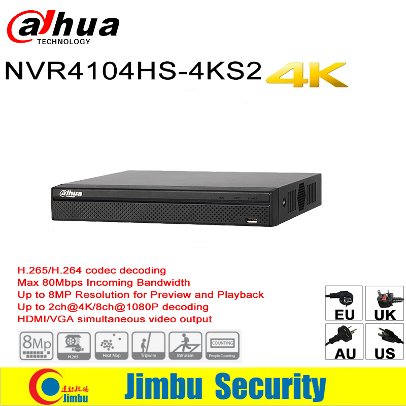 Dahua NVR Easy4ip 4K Network Video Recorder NVR4104HS-4KS2 4CH 1U 4K & H.265/H.264 Up To 8MP Tripwire For IP Camera dahua nvr616r 128 4ks2 128 channel ultra 4k h 265 network video recorder nvr free shipping